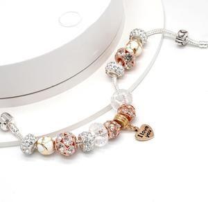 Golden Pandora Heart Pendant Bracelet I love you